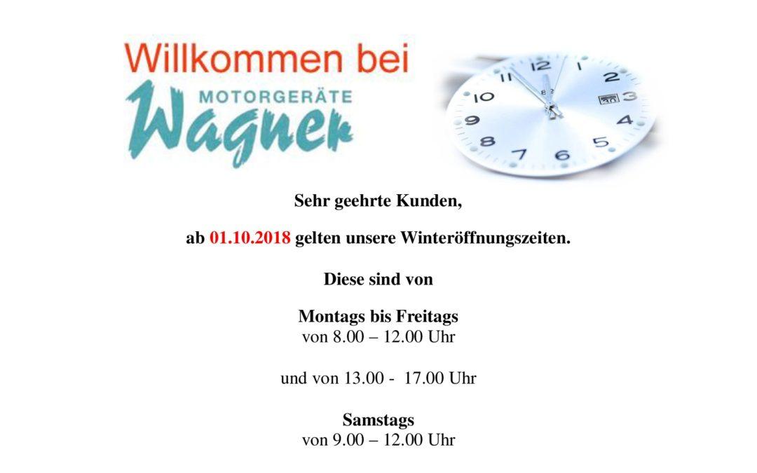Winteröffnungszeiten ab 01.10.18