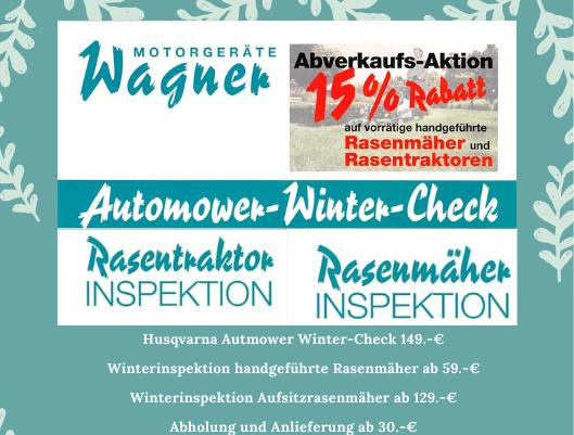NOCH BIS 29.02.20 Winterinspektion für Mähgeräte